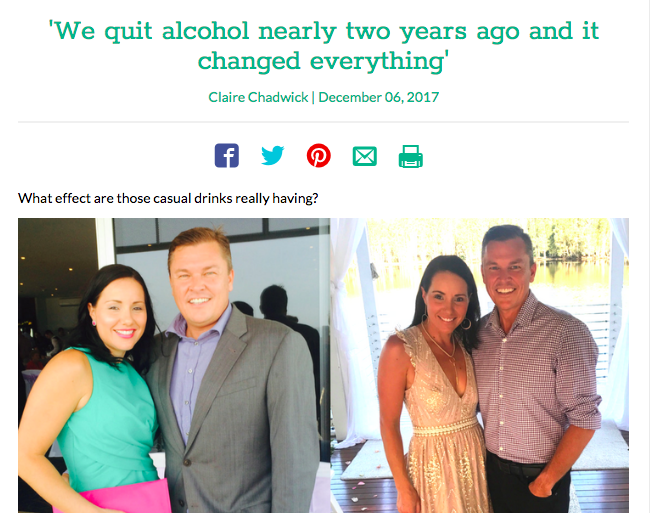 Claire's article (for Kidspot) on how/why her and her husband quit alcohol went VIRAL around the world.