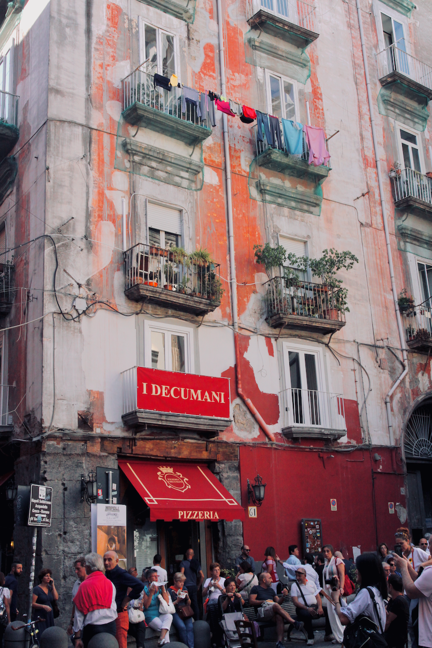 Colourful buildings on streets of Naples, Italy