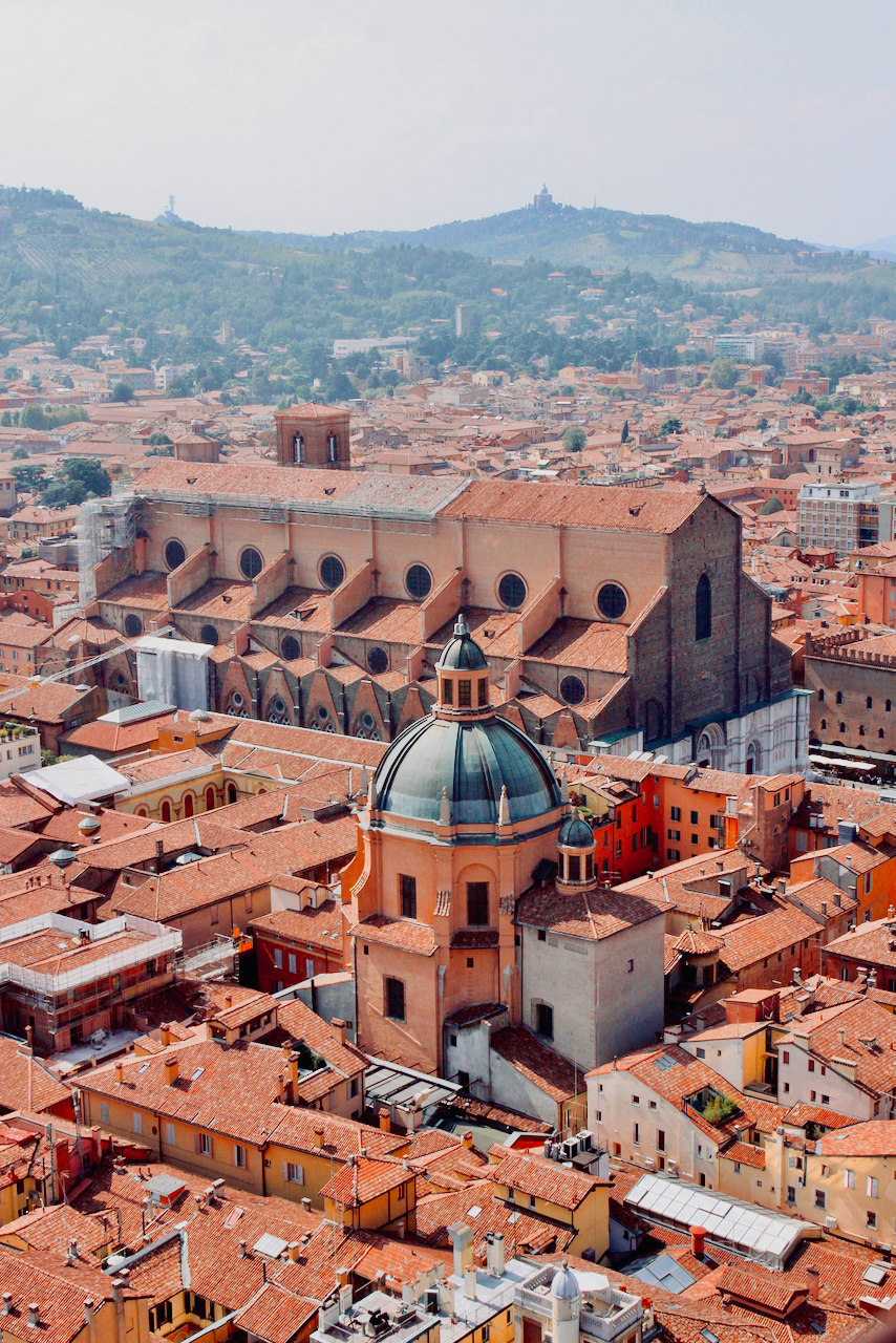 View of red city of Bologna from the Torre degli Asinelli