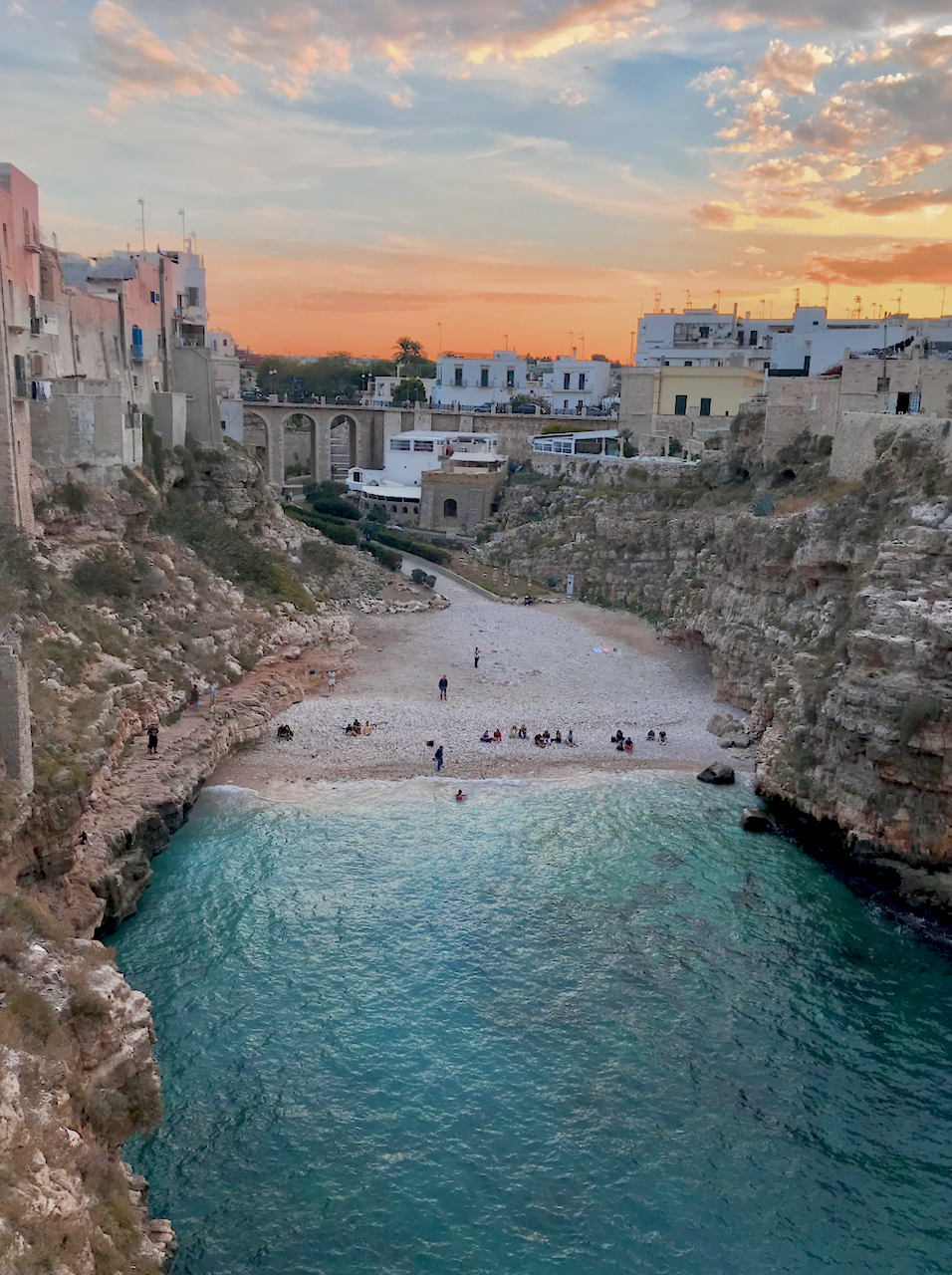 View of the cove, beach and ocean at Polignano a Mare, Pulia, Italy