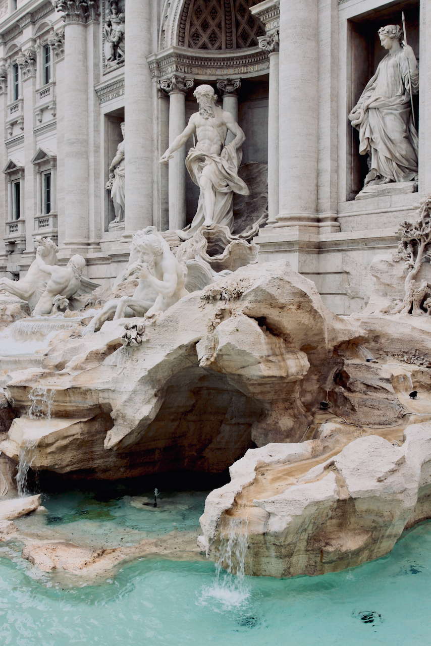 Beautiful carvings and statues at the Trevi fountain, Rome Italy