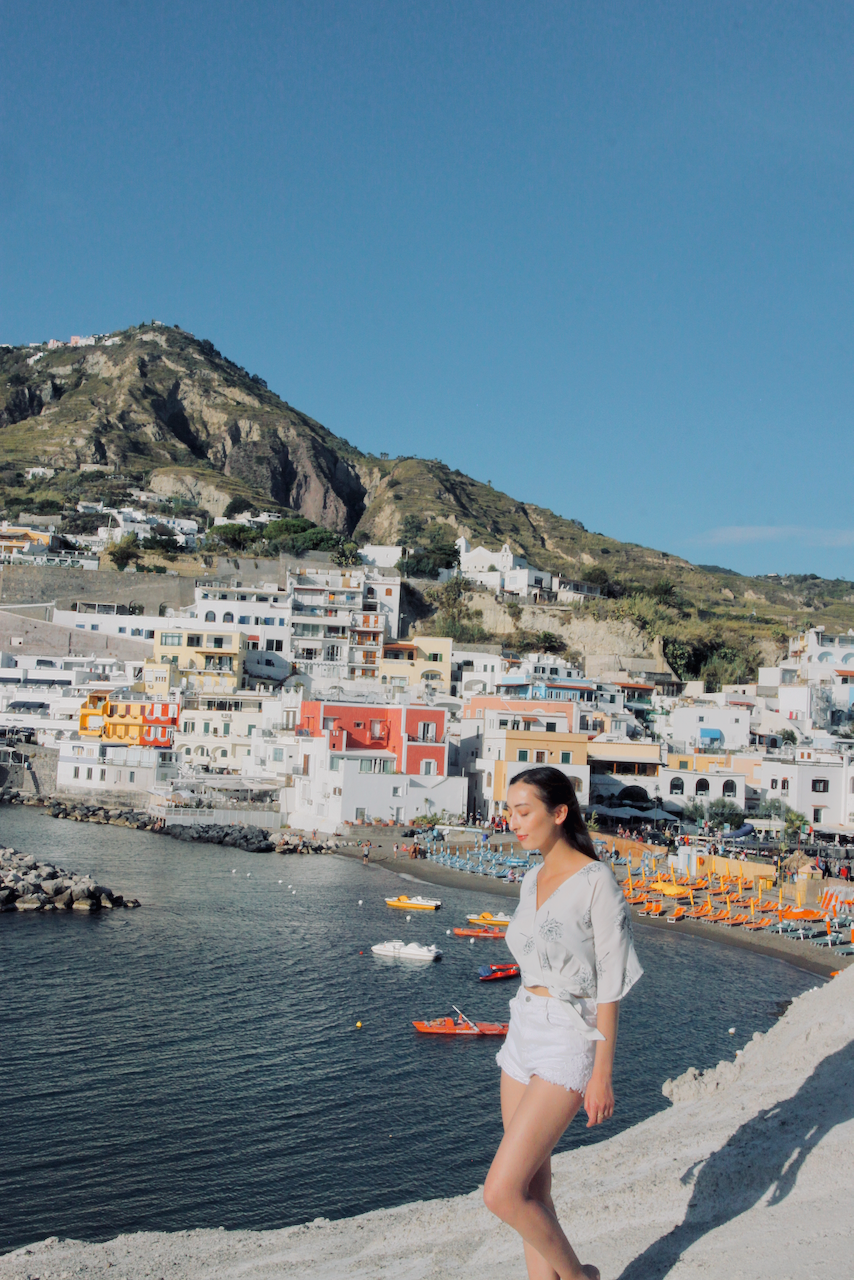 Ischia view of Sant'Agnello colourful buildings and beach