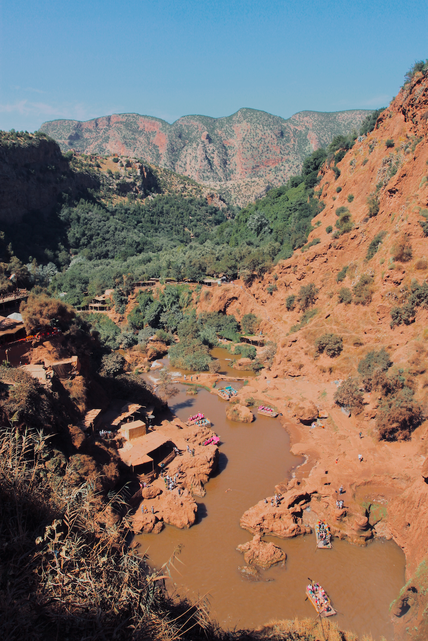 Colorful boats on the river at Ouzoud Falls, Morocco North Africa