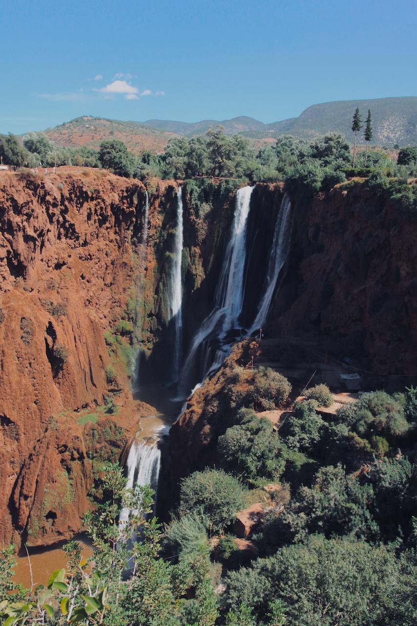 Ouzoud Falls cascade around wide cliffs, Morocco North Africa
