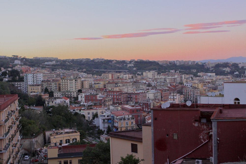 View of colourful houses in Naples from the Pedamentina a San Martino