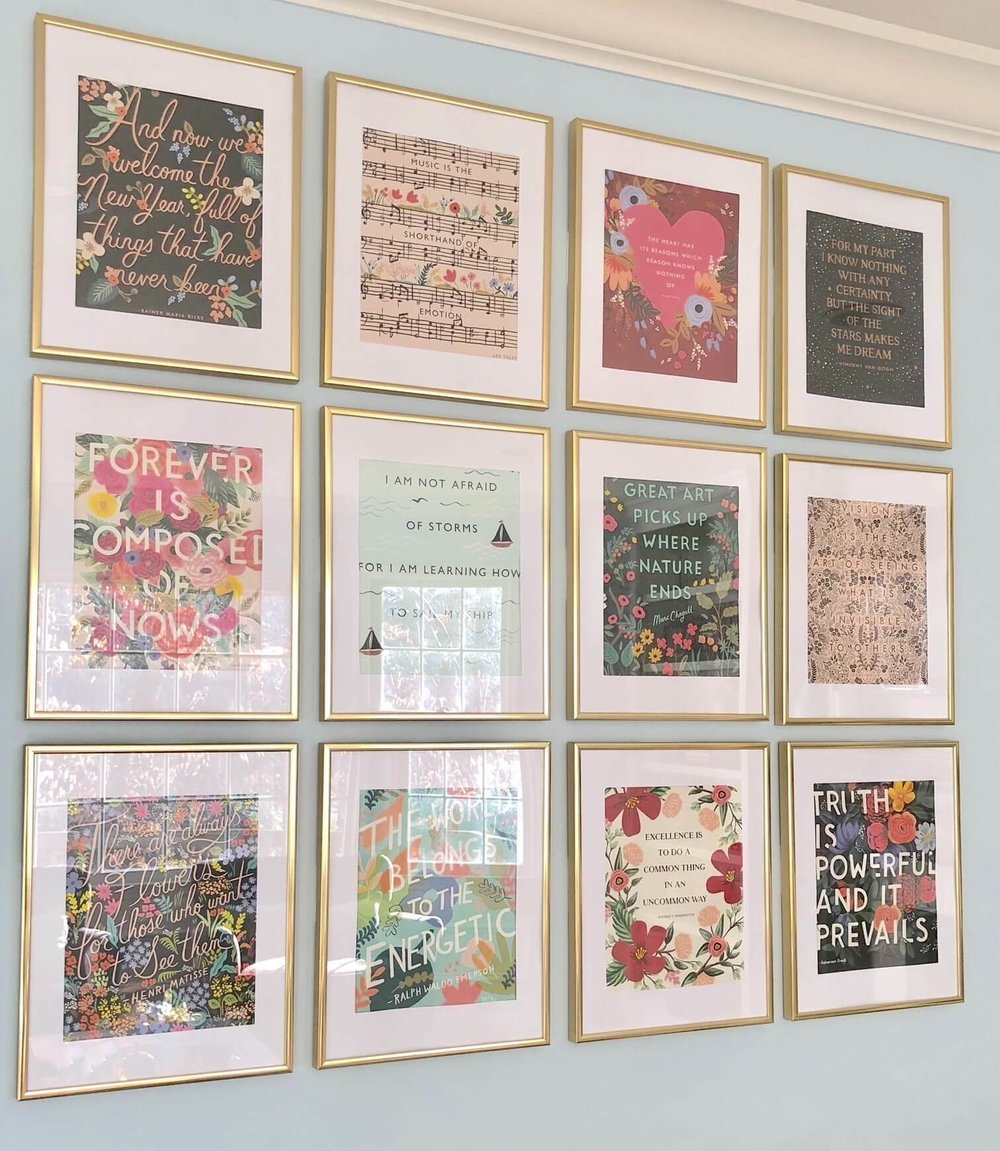 Unique Gallery Wall Ideas Diy Framed Art With Rifle Paper