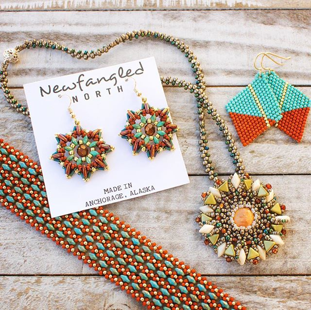 Fall colors 🎉 fresh design 👏 unique 🧜🏼‍♀️ handmade goodness 😊 I absolutely love doing what I do!  Anchorage peeps, don't forget about my next show October 5-6, 2018 at the Anchorage Museum in the upper atrium ❤️ (psst, after that is AFN 🎉, I'll be there too!) #newfanglednorth #newfangledlife #beadwork #beads #fallbeawork #wheninalaska #lovetobead #dowhatyoulove #craftwomanship #alaskajewelry #madeinalaska #beadinspiration #anchoragemuseum #alaskabeadsociety #beadingartist #wheremygirlsat #treatyoself