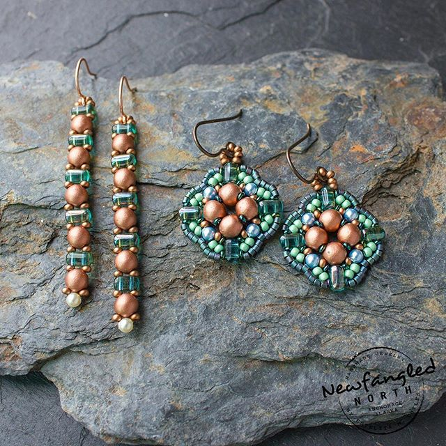 There is something about pairing copper colored beads with watery and transparent green beads...it must be the reflective green beads and hints of blue... and the roundness of the copper beads. Love these! I'm done posting to my Etsy shop for the day, but look out for these tomorrow! Now, off to see Crazy Rich Asians movie!  #copper #modernbeadwork #seedbeads #colorway #slate #madeinalaska #alaskajewelry #alaskalove #green #niobium #rounduos #targetearrings #longearrings #perfectgift #swarovskipearl #maker