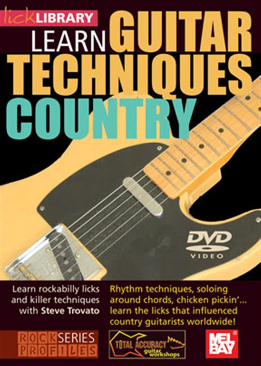 Learn Guitar Techniques: Country - Product genres: Blues, Country Skill level: IntermediateSeries: Lick LibraryFormat: DVDArtists: Steve Trovato, Albert LeeLearn country guitar techniques and licks with Steve Trovato. This excellent two hour DVD will teach you some of the guitar techniques that influenced country guitarists worldwide! If you're looking to take your playing to the next level, this DVD will provide you with an arsenal of Albert Lee style licks that you can incorporate into your own solos. Also includes guitar jam tracks.