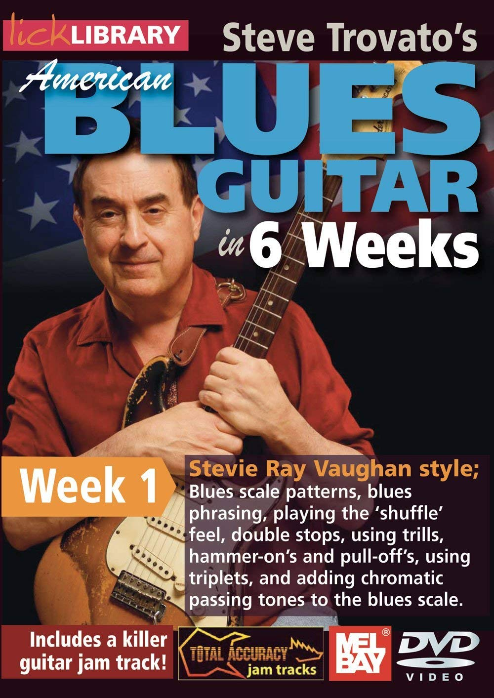 American Blues Guitar in 6 Weeks - Series: Lick LibraryFormat: DVDGuitar Artist: Steve TrovatoWelcome to the American Blues Guitar in 6 Weeks course. These lessons are designed to focus your practice towards realistic goals achievable in six weeks. Each week provides you with techniques, concepts and licks to help you play and understand blues soloing at a manageable easy to follow pace.