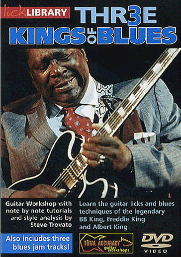 Thr3e Kings of Blues - Product genre: Blues Skill level: Intermediate Series: Lick LibraryPublisher: LicklibraryFormat: DVDAuthor: Steve TrovatoLearn the highly original blues guitar techniques of BB King, Freddie King, and Albert King with guitar master Steve Trovato! This excellent DVD will guide you through the classic licks and soloing techniques that laid the foundations of The Blues! The DVD includes over two hours of lessons to help you master the unique styles of each of these legendary blues guitar masters. Also includes three blues guitar jam tracks so you can practice all of your newly acquired techniques and licks to perfection!