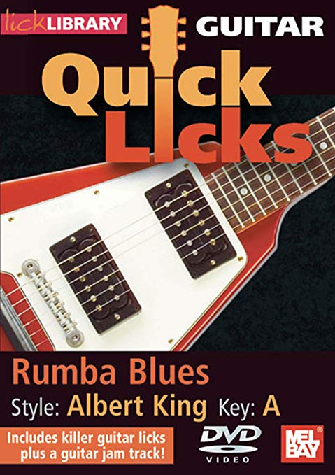 Rumba Blues in the style of Albert King - Product genre: BluesSkill level: Intermediate Key: ASeries: Lick LibraryFormat: DVDAuthor: Steve TrovatoRumba Blues, Key of G Learn blues licks for guitar in the style of Albert King, one of the original three kings of blues guitar and inspiration to Clapton, Hendrix, Stevie Ray Vaughan and Gary Moore. Also includes a guitar jam track. Lessons by Steve Trovato Each Quick Licks DVD includes an arsenal of licks in the style of your chosen artist to add to your repertoire, plus backing tracks to practice your new licks and techniques.