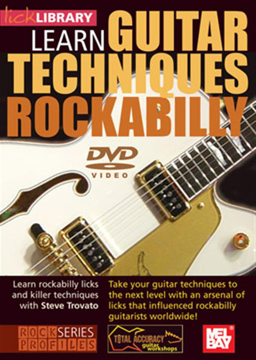 Learn Guitar Techniques: Rockabilly - Product genres: Blues, Rock Skill level: IntermediateSeries: Guitar TechniquesFormat: DVDLearn Brian Setzer guitar styles and rockabilly licks with Steve Trovato This excellent two hour DVD will teach you some of the guitar techniques that influenced rockabilly guitarists worldwide! If you're looking to take your playing to the next level, this DVD will provide you with an arsenal of Brian Setzer style licks that you can incorporate into your own solos. Also includes four guitar jam tracks!