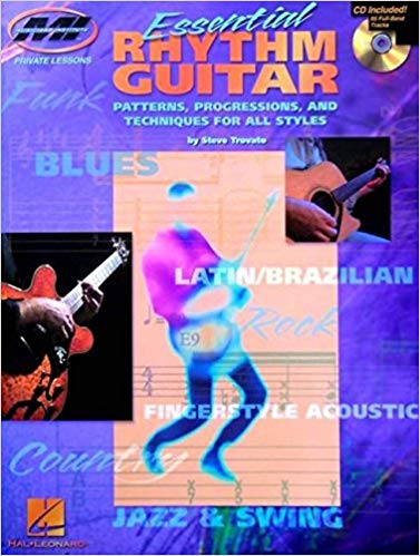 Essential Rhythm Guitar - This book/CD pack is based on the concept that, for most popular music styles, there exist a few basic, fundamental rhythm guitar techniques and a set of appropriate chords and chord voicings that determine the sound of each style. This one-on-one lesson with Steve Trovato teaches the rhythm guitar essentials for 7 styles: blues, rock, country, fingerstyle acoustic, Latin/Brazilian, jazz and swing, and funk. The CD features 65 full-band tracks. Includes standard notation & tab.