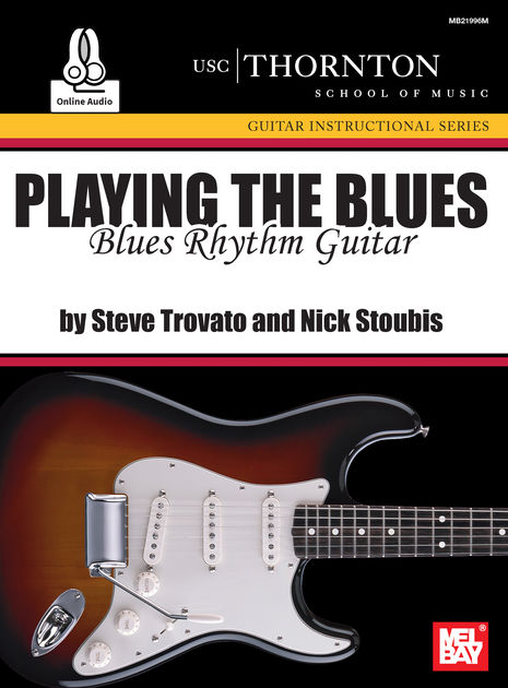 Playing the Blues: Rhythm Guitar - This in-depth blues rhythm guitar text is core curriculum of the University of Southern California's Studio Guitar Department. It features eighteen twelve-bar blues rhythm guitar accompaniments in the style of guitarists such as Chuck Berry, Eric Clapton, Jimmy Page and Stevie Ray Vaughan. Nine of the songs use a shuffle feel and nine use a straight eighth note feel. The play along online audio recording contains two versions of each of the eighteen songs in the book. The first version has the guitar part and the second version is without the guitar. This gives you the ability to play along with the guitar part as a guide and also to play along with the track as the only guitarist. The examples are written using traditional musical notation and tablature. Included for each song is a short description of the important points to consider when learning each example. The book presents songs that will expand the guitarist's vocabulary by presenting a variety of different ways a guitarist can play through the twelve bar blues. A number of different chord variations, keys and tempos are used in demonstrating these eighteen idiomatic rhythm guitar parts that have been used by the masters.