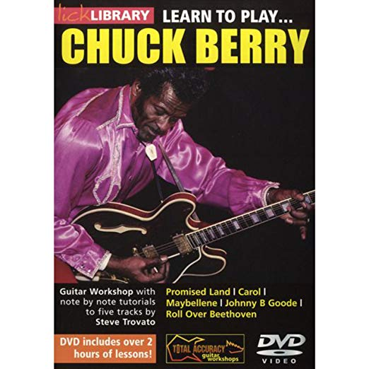 Learn to Play Chuck Berry - Learn five Chuck Berry tracks note for note with Steve Trovato This superb DVD will teach you five tracks from this rock and roll pioneer and influence on musicians worldwide... learn every riff and guitar solo note for note! Guitar lessons include; Promised Land Carol Maybellene Johnny B Goode Roll Over Beethoven