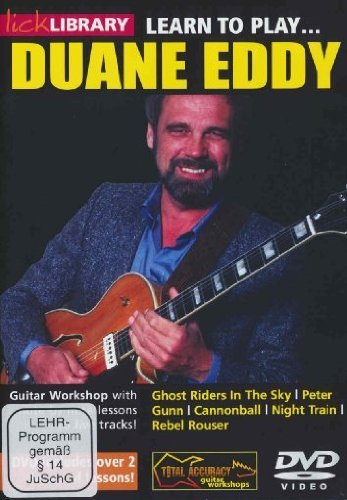 Learn to Play Duane Eddy - The five tracks on Learn To Play Duane Eddy are the instantly recognizable Ghost Riders In The Sky, Peter Gunn, a top ten hit all around the world and winner of the Grammy award for Best Rock Instrumental 1986. There is also the sweet rollicking instrumental Cannonball and the atmospheric Night Train. Plus with its heavily echoed opening, a track from a period considered by many to be Eddy's finest Rebel Rouser, which is probably the one that he is still most often identified with.Steve walks you through step-by-step each of the five tracks on this guitar lesson DVD. The split screen enables you to see what the fretting hand is playing at the same time as showing you what the strumming hand is doing. Because it is a guitar video you can go back over any part of the lesson time and time again to ensure you get that sound just right.Grammy award winning, American guitarist Duane Eddy devised early in his career a technique that involved playing lead guitar on bass strings, thus producing that characteristic low reverberant