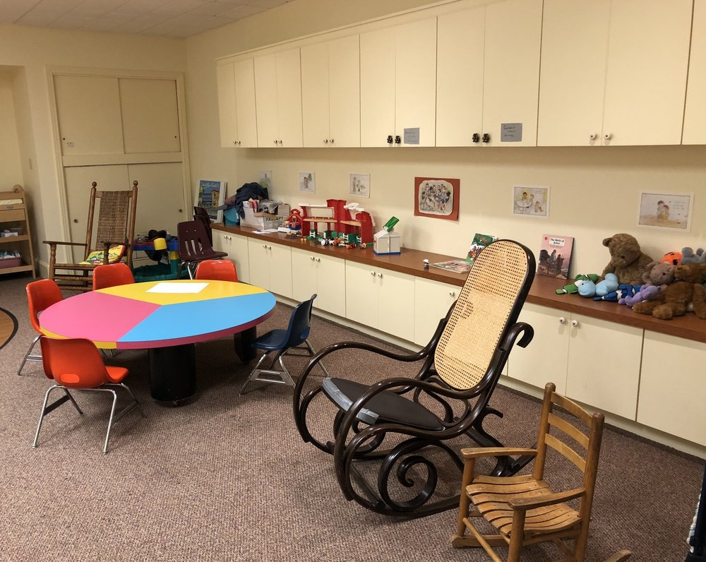 ChildCare - Nursery Care is available for infants and children through age 3 each week during the worship service. An usher can direct you to the nursery, which is located on the first floor of the Church House. Diaper Changing Stations are available in the restrooms on the first floor.