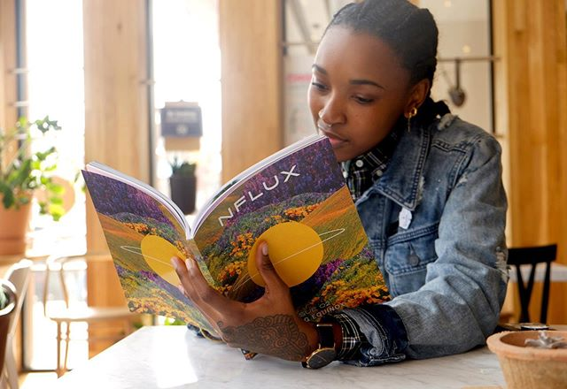 ☀️ Brilliant Aries illustrator & muralist @karabo_poppy reading her spring horoscope!   👉🏾 Have you grabbed your copy of Issue 02 - Spring Equinox? They're going quickly!   🌈 If you're in Brooklyn, you can now pick up a copy at @newwomenspace & @quimbysbookstorenyc!