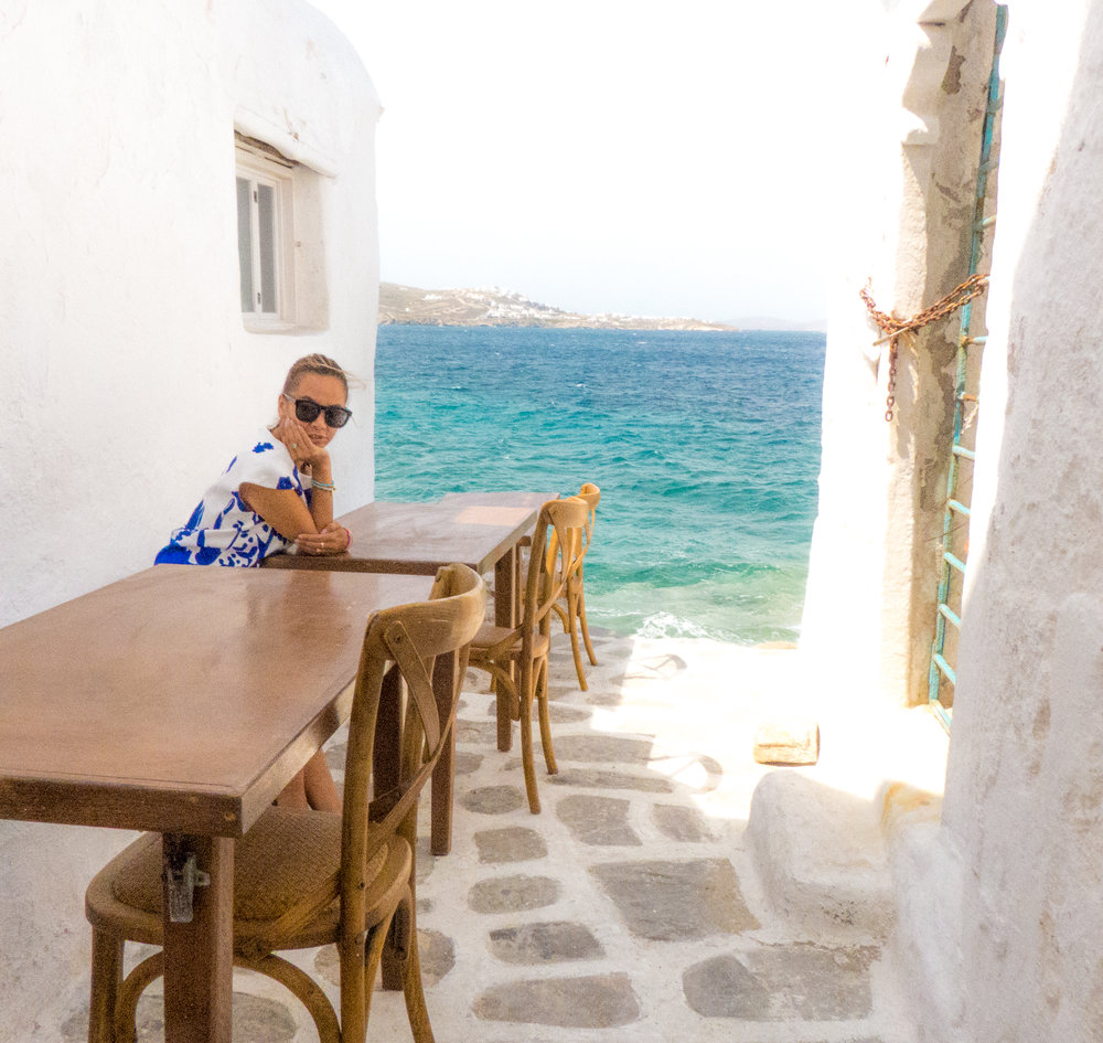 The infamous narrow alley cafe in Mykonos.