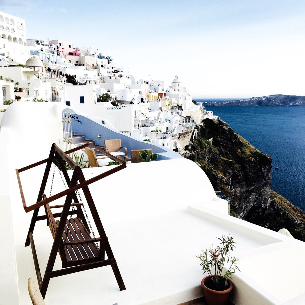 One of my favorite shots taken. The views from a patio in Oia, Santorini.