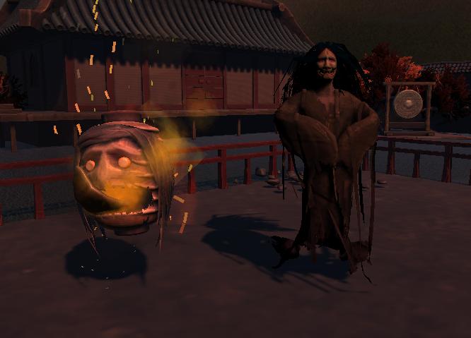 Melee AI: Lantern Yokai  (right).  Ranged AI: Snow Lady Yokai  (Left) .