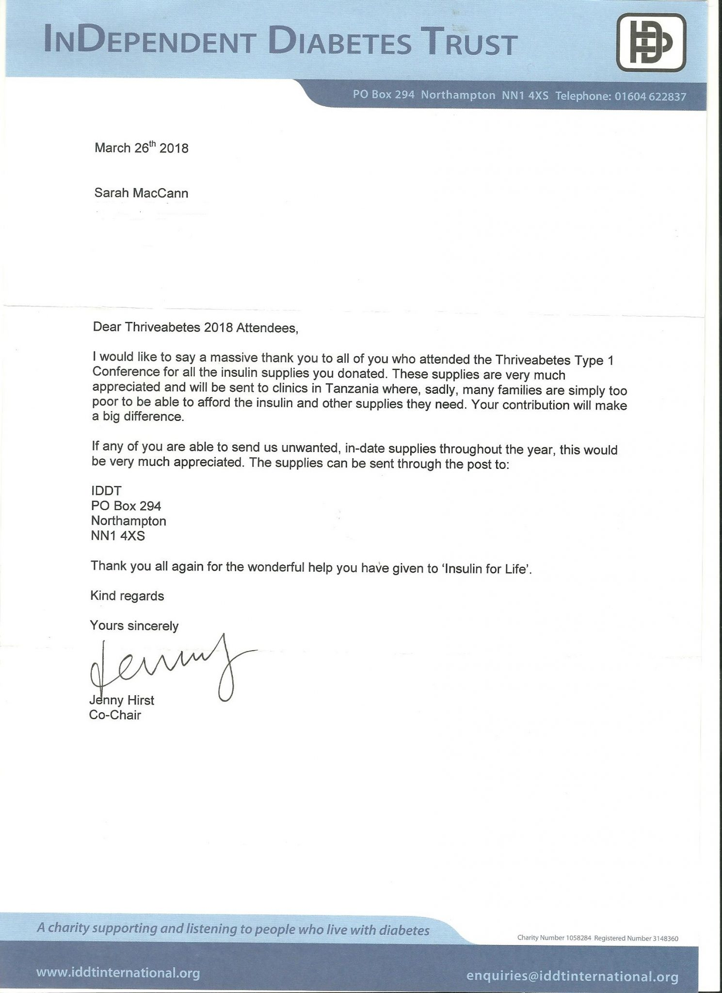 Thank you letter from the InDependent Diabetes Trust
