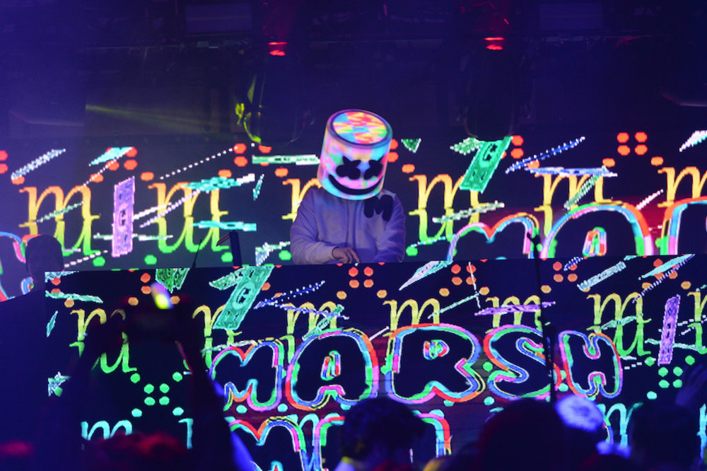 Marshmello performs a special set at the 2018 Maxim Super Bowl Party