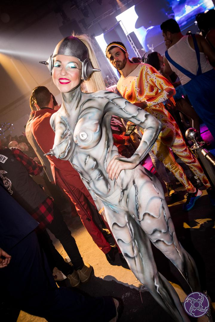 Body painted models at the 2017 Maxim Halloween Party