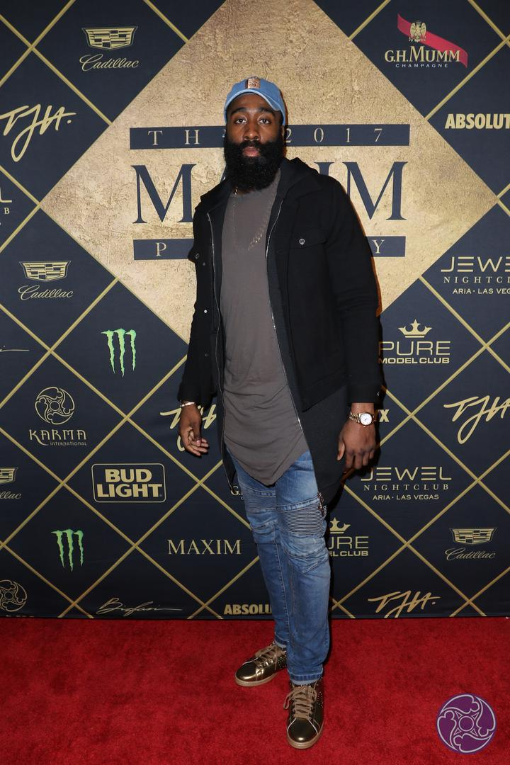 James Harden arrives at the 2017 Maxim Super Bowl Party