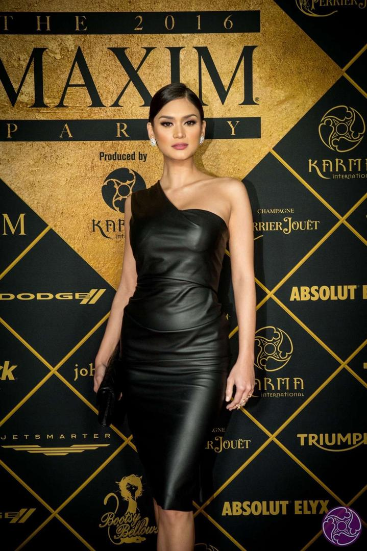 Miss Universe 2015 Pia Wurtzbach arrives at the 2016 Maxim Super Bowl Party