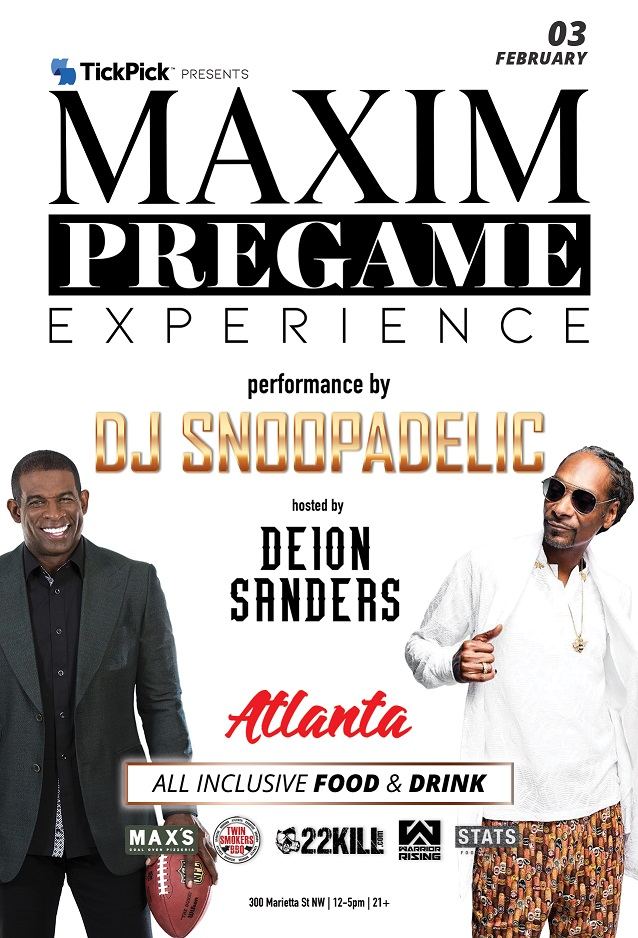 2019 Maxim Super Bowl Pregame Experience Tickets. Before the New England Patriots take on the LA Rams, tailgate at the best Super Bowl LIII Pregame Party in Atlanta. Official Tickets for all Maxim Experiences at VIPexclusives.com