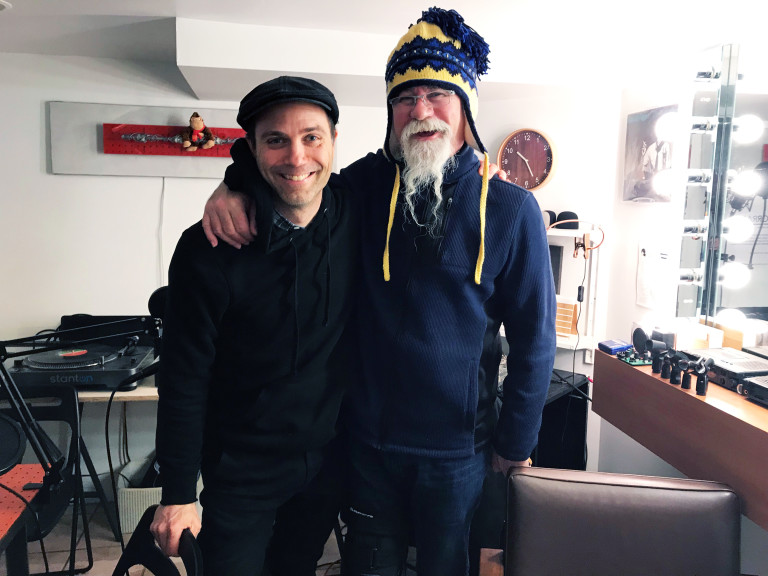 Sound engineer Andy Miles with Scott Martin