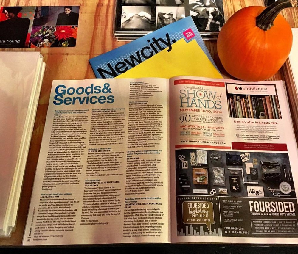 We were pleased to find Transistor written up in New City's Best of Chicago issue (alongside stylish ads for Show of Hands and our good neighbor Foursided).