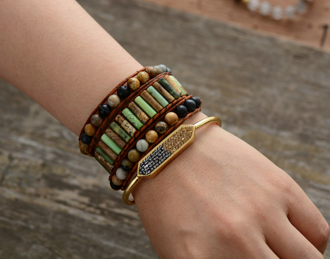 d33592b4eced13 vintage jewelry boho leather wrap bracelet. benefits of jasper beads stone  for confidence. lava