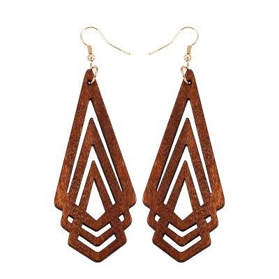 d64c9b155edd29 Modern Stylish Geometric Wooden Earrings - Brown — Peaceful Island