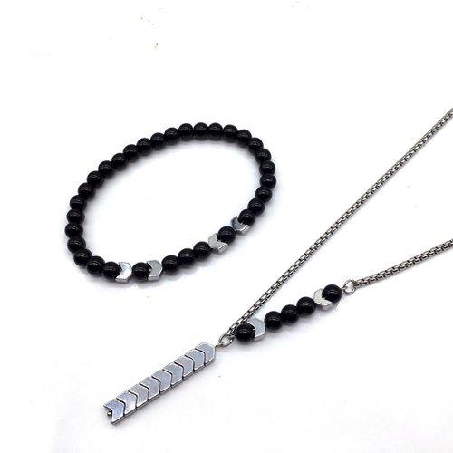 Mens Protective Onyx Arrow Set Silver Beaded Onyx Bracelet