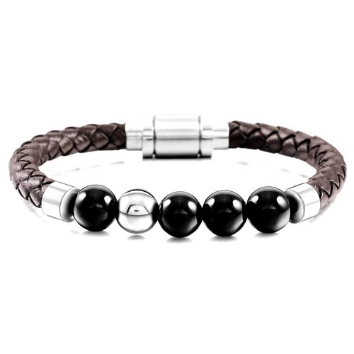 b257b1a6124bdb Superior Men's Onyx Stone Bracelet - Genuine Brown Leather ...