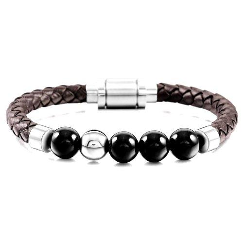 b257b1a6124bdb Superior Men's Onyx Stone Bracelet - Genuine Brown Leather ...