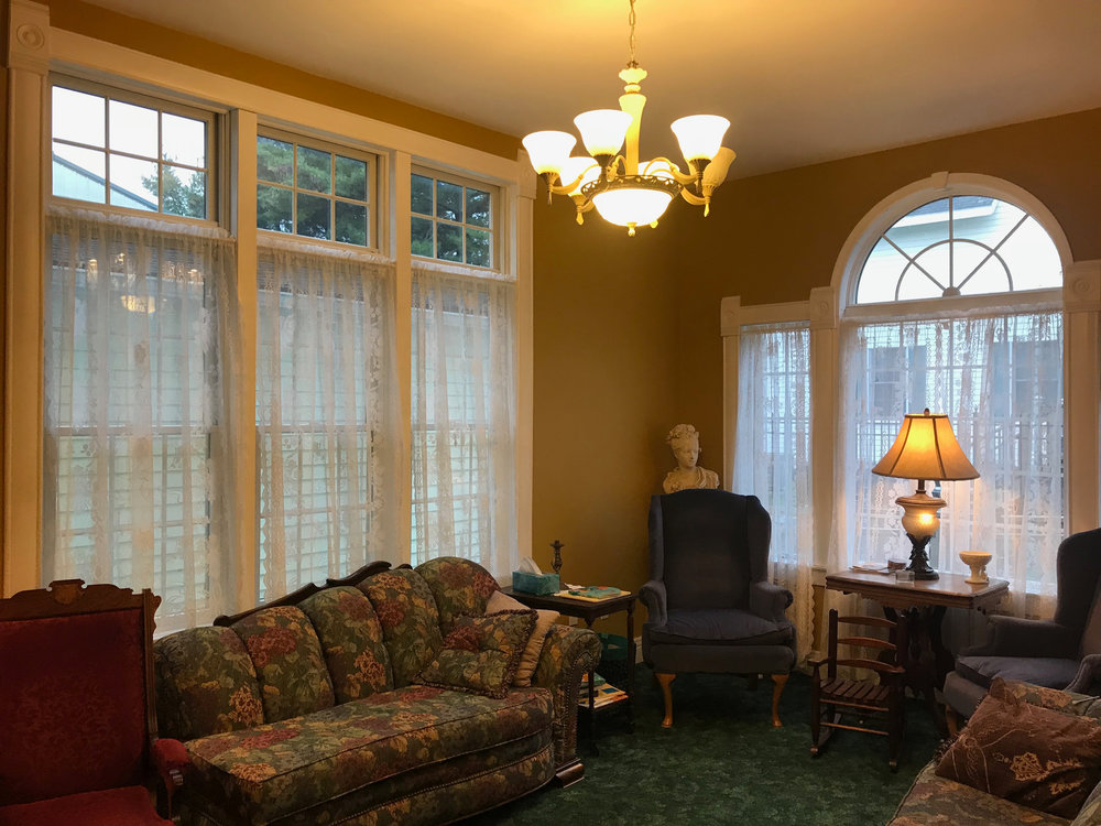 "Rain or shine, the light in this ""Parlor"" Room is a dream to read, play or just simply relax."