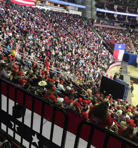 President Trump fills seats in the Houston Arena.