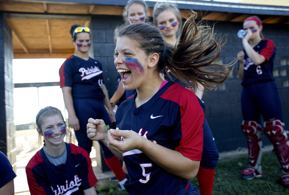 "Heritage Hills senior Maddie Fuller found a four-leaf clover while searching the grass with her teammates and put it in her sock for good luck before defeating Evansville Memorial 7-6 to win the sectional championship in Boonville, Ind. on May 24, 2018. Fuller made the seventh-inning game-winning hit, and after the game, exclaimed, ""it was the clover!"""