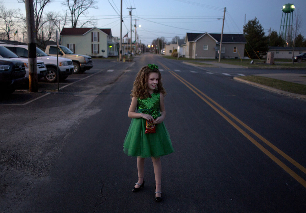 Little Miss Shamrock runner-up Sophie Schnarr of Jasper, 7, left the pageant at Ireland Elementary School in Ireland, Ind. on Sunday, March 4, 2018. The Little Miss Shamrock pageant is part of Ireland Indiana's annual town festivities.