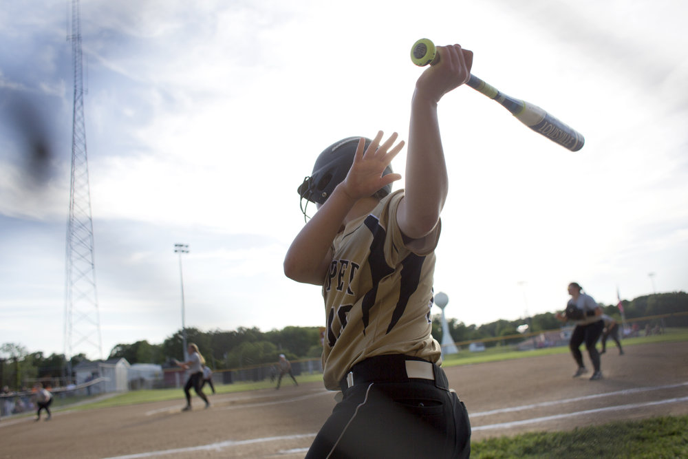 Jasper's Rachel Gress warmed up her swing against Washington in Petersburg on Wednesday. Jasper won 17-4.