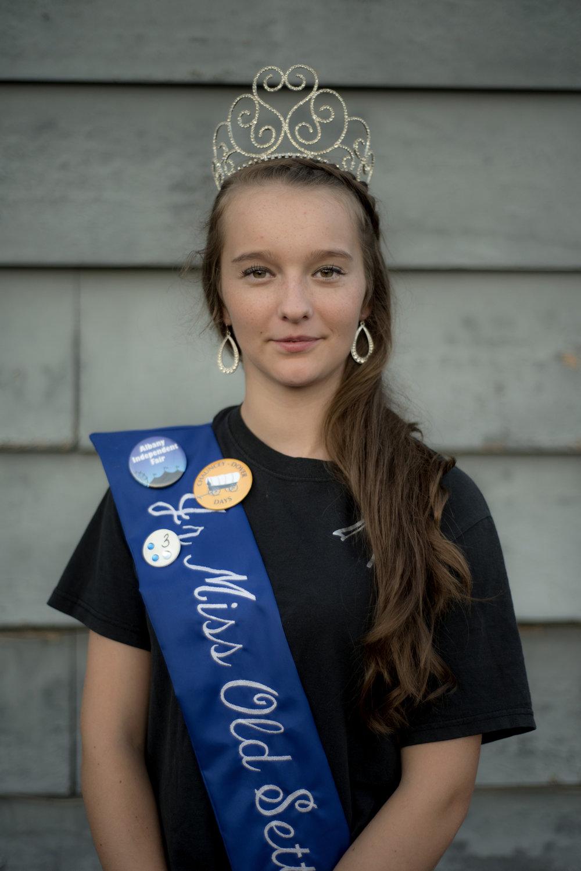Chelsie Hogsett, the 2015 Junior Miss Old Settler, poses for a portrait at the Old Settler's Reunion in Jacksonville, Ohio on Sept. 4, 2016.