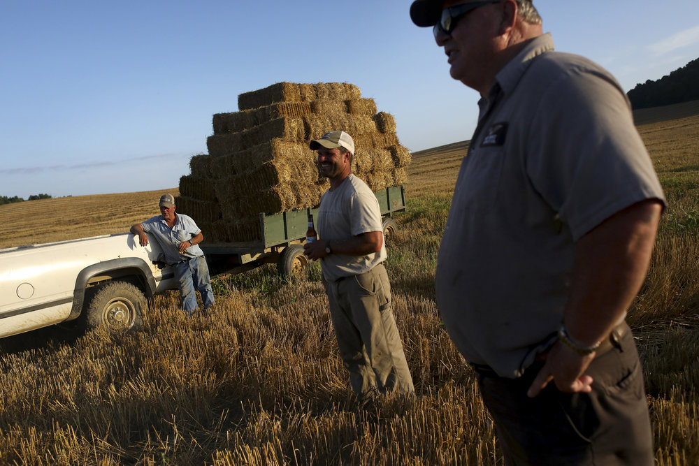 Rich Vollmer, left, Chad Merkley, and Don Schroering, all of Jasper, relax with their group of workers after baling, stacking, and hauling 2700 square straw bales from 50 acres of land in Jasper, Ind. The group usually ends their work day with a cold beer, and on Tuesday, June 19, 2018, also washed down bologna sandwiches. Vollmer and his two brothers own Vollmer Farms, which has been in his family for 6 generations.