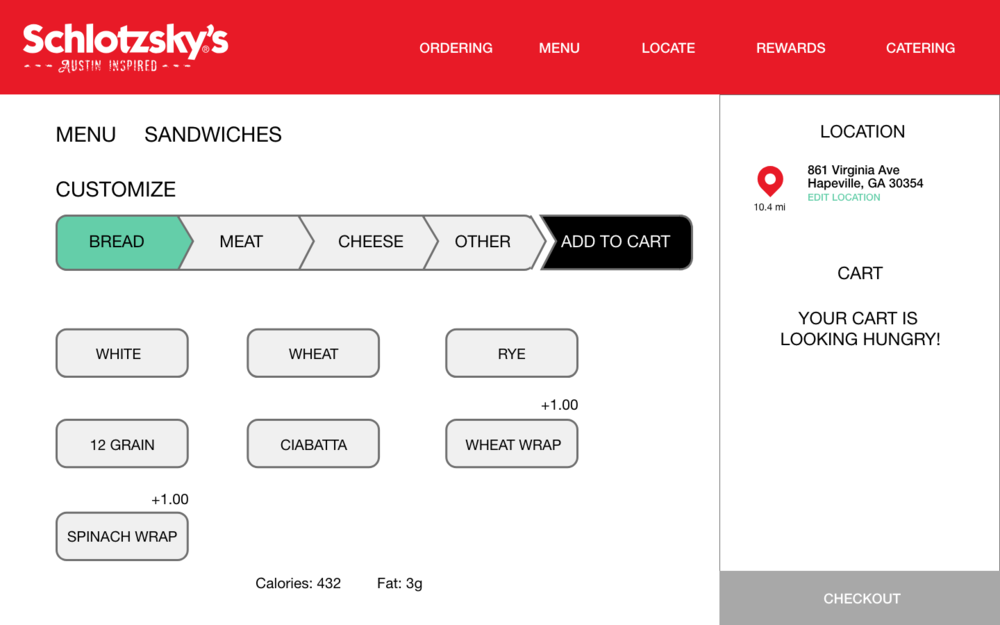 Synthesized Customization Process - Some food options allow users to select more than one option