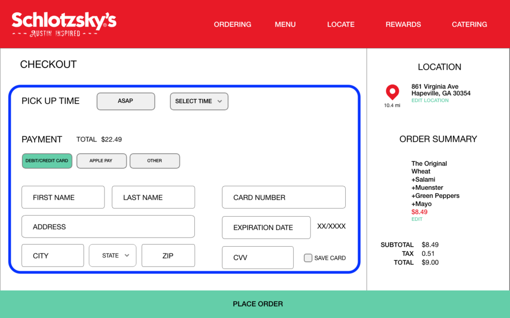 Checkout process is cluttered on one screen - Recommendation: Provide information for each part of the checkout process in chunks/sections that users tab through as they complete the checkout process
