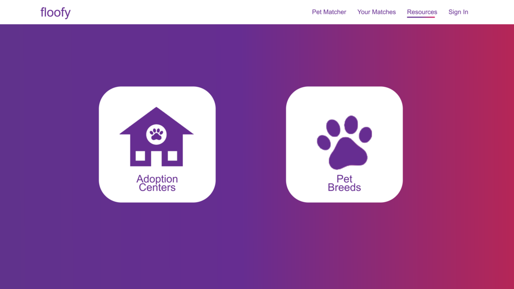 Resources - Users can come to the resources tab to find more information about an adoption center or about a particular breed.