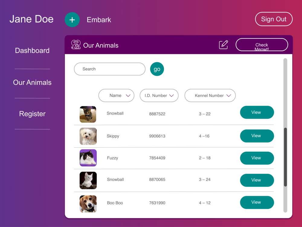 Pet Management - Shelter volunteers can view and manage the pets that are currently located at the shelter. This list and any changes made to each pet will be updated real-time and show up on the adopter portal of Floofy.